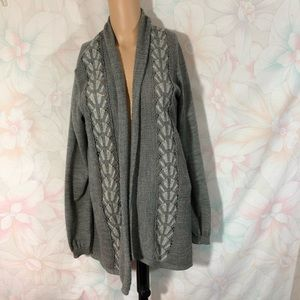 KNITTED & KNOTTED Anthropology Open Front Cardi L